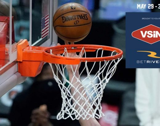 Basketball and net on the cover of the Betrivers sportsbook free betting guide