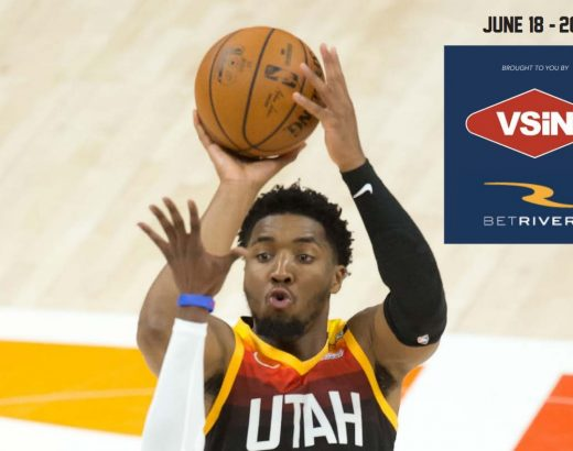 Utah jazz player shoots to score on the cover of the Betrivers sports betting guide