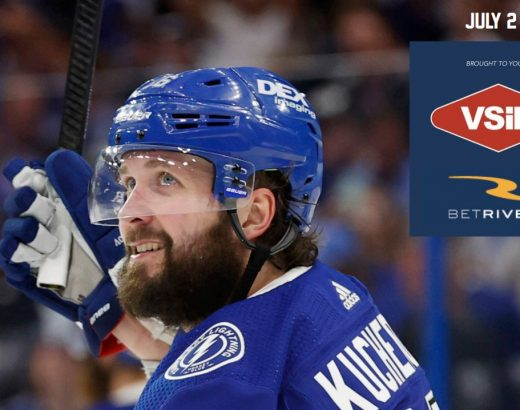 NHL hockey player on the cover of the BetRivers free sports betting guide