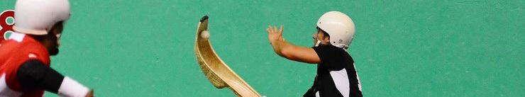 Jai alai players on the court